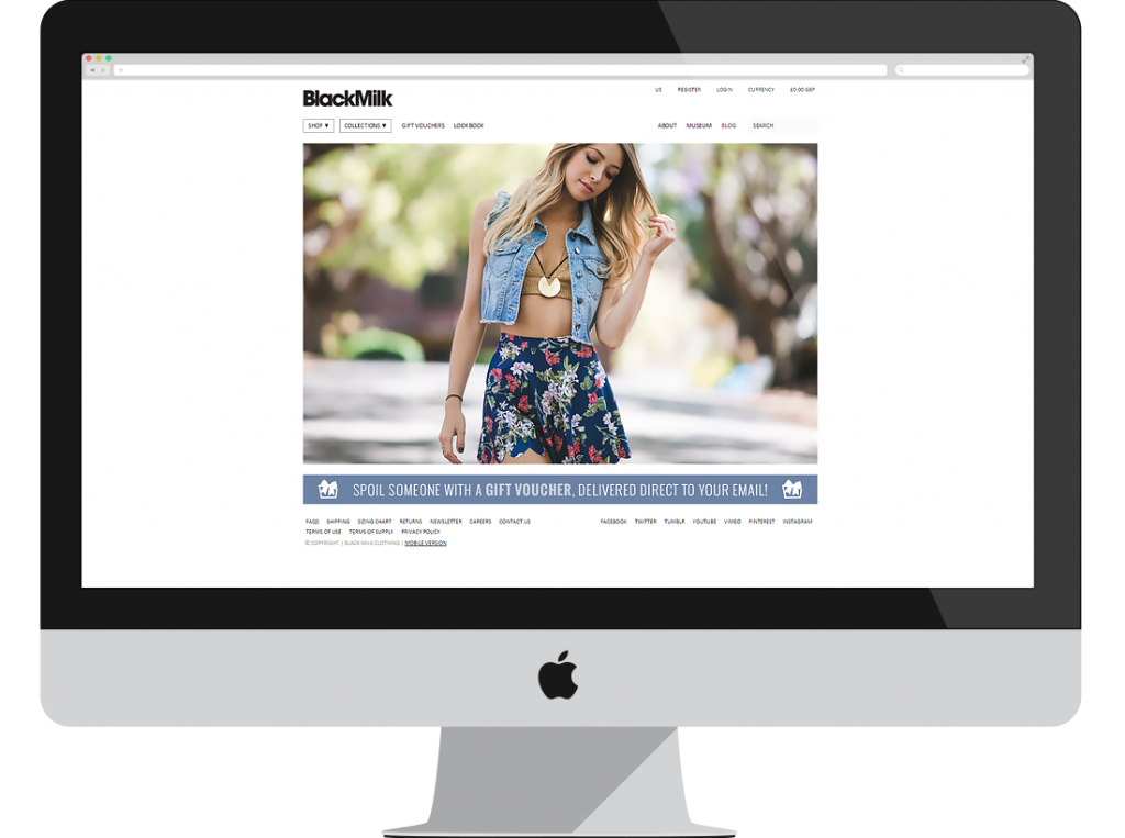 Black Milk: Sultry Ecommerce Store With Ligth Wear Fashion