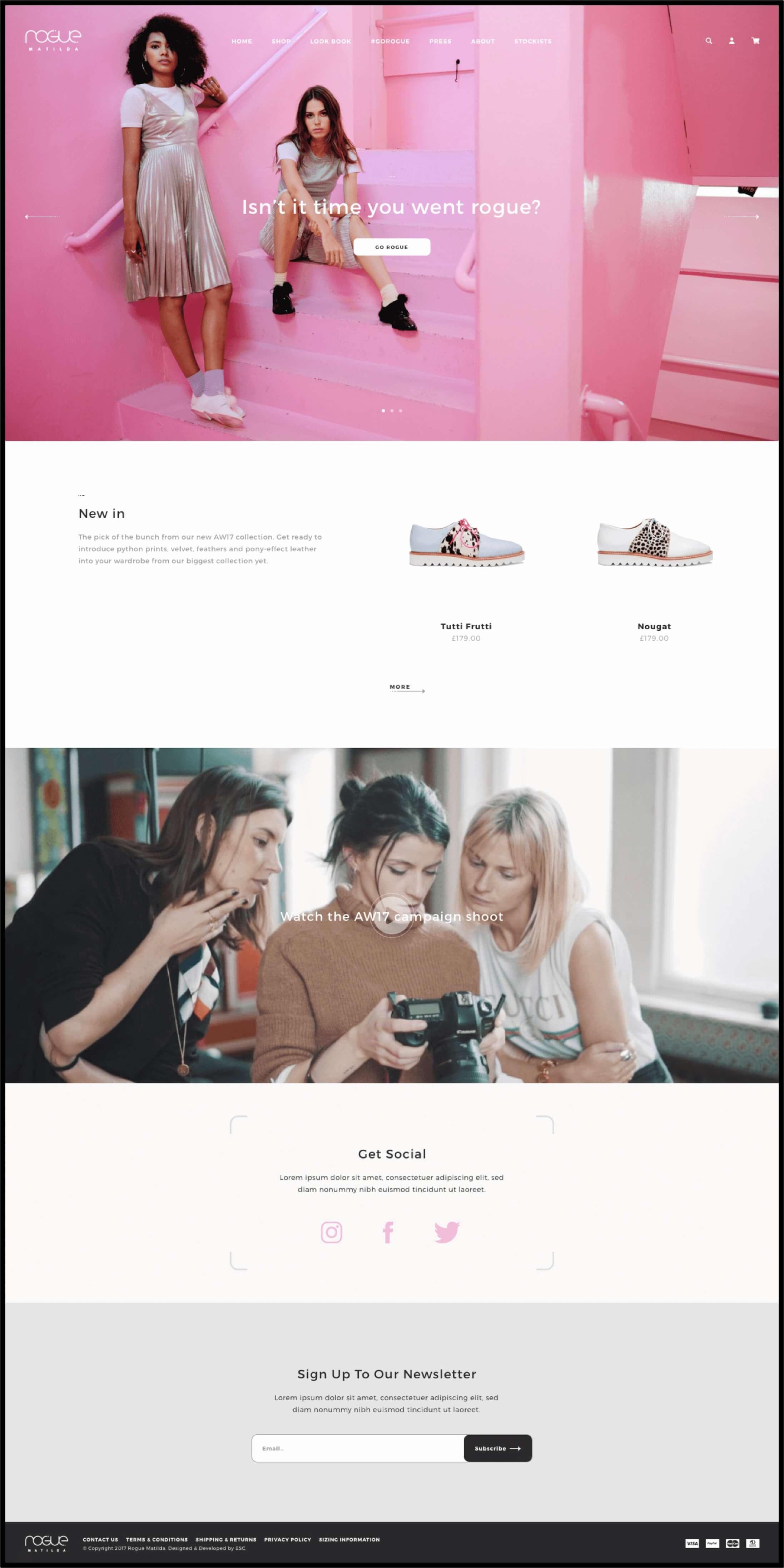 Rogue Matilda Shopify Home Page
