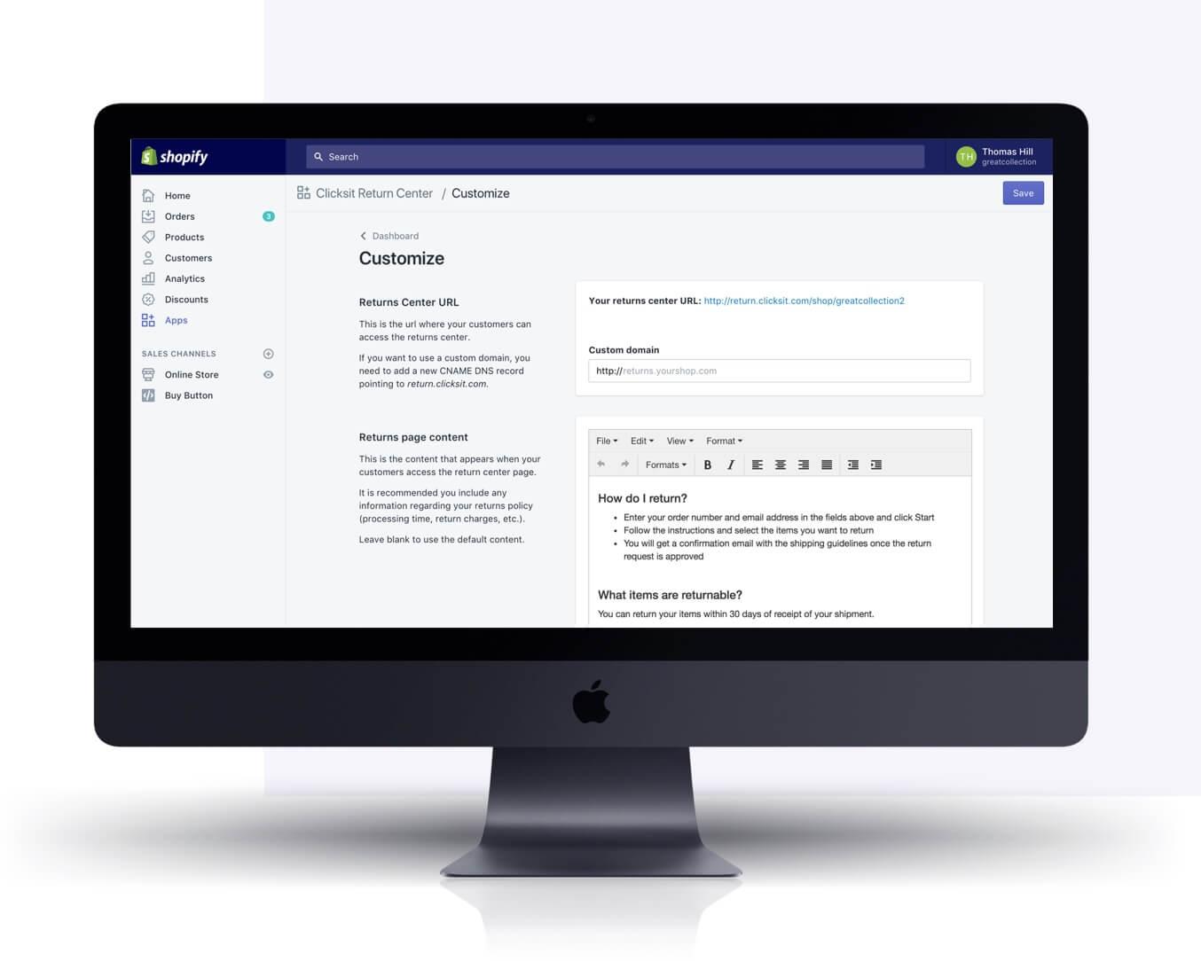 Mac screen showing Clicksit Shopify app by Eastside Co