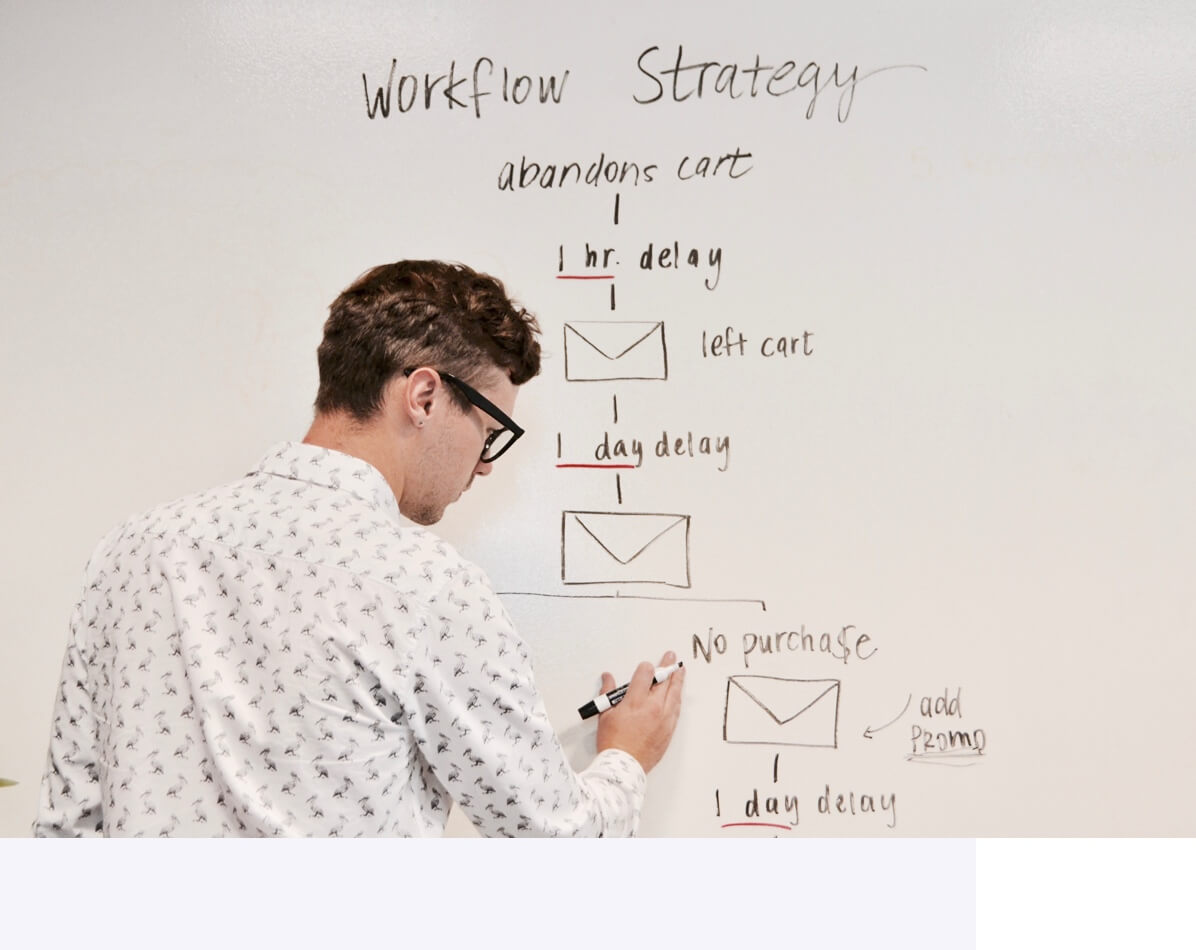Man reviewing abandoned cart email workflow strategy on whiteboard