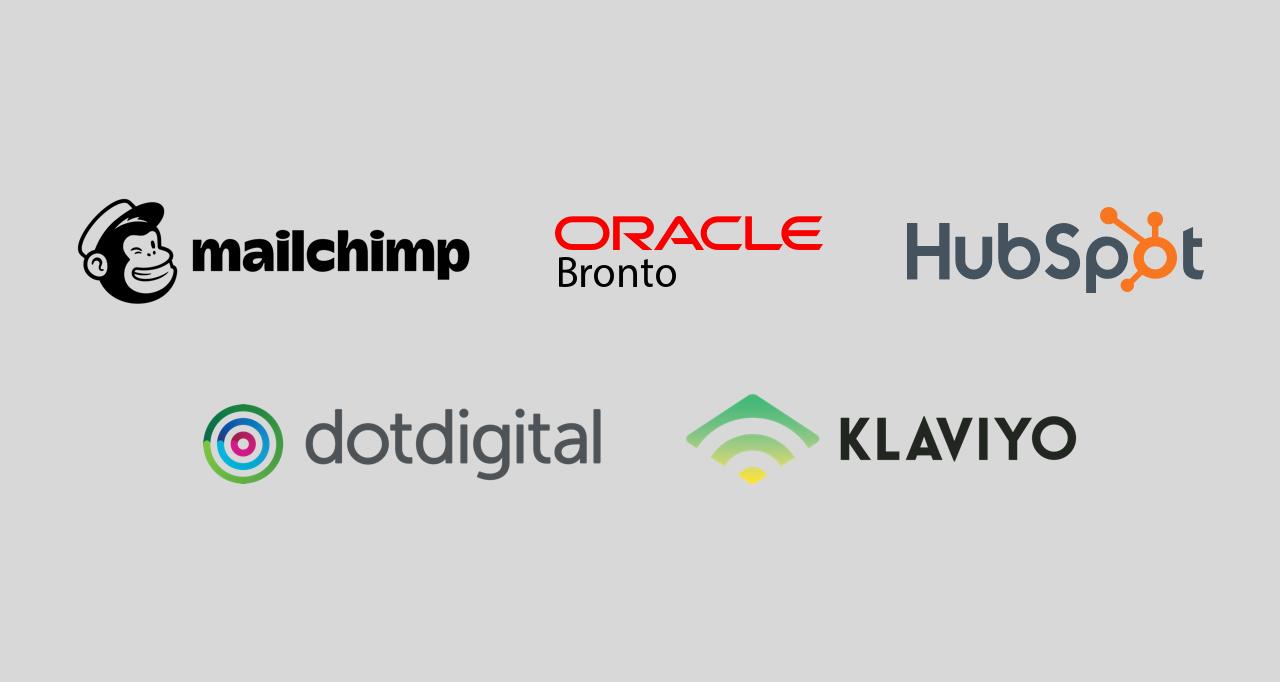 Email service provider logos: klaviyo, dotdigital, hubspot, bronto